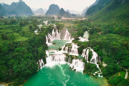 Ban Gioc Wasserfall aus der Luft