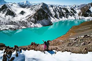 Blick auf den Ala Kul See in Kirgisitan.