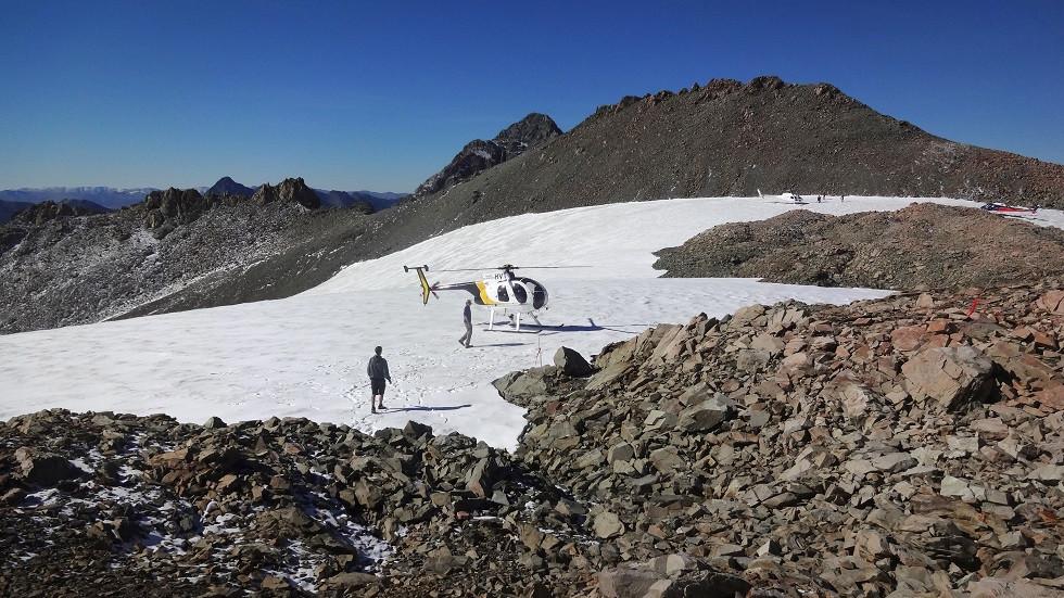 Snow Landing vor dem Mount Cook