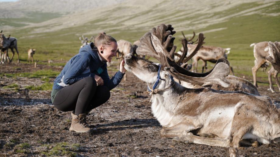 Kati streichelt Rentiere in der Mongolei