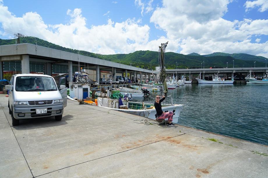 Mit dem Camper am Hafen auf Hokkaido