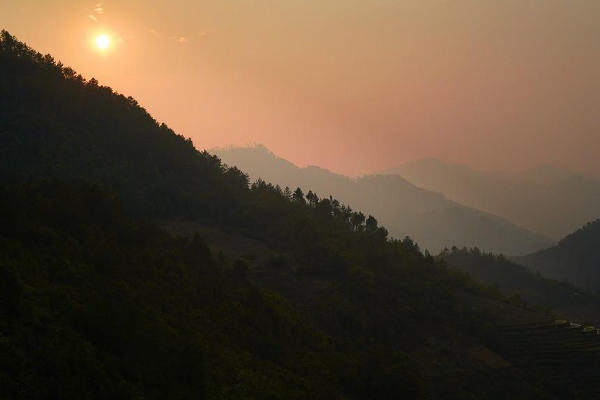 Sonnenuntergansstimmung in den Bergen
