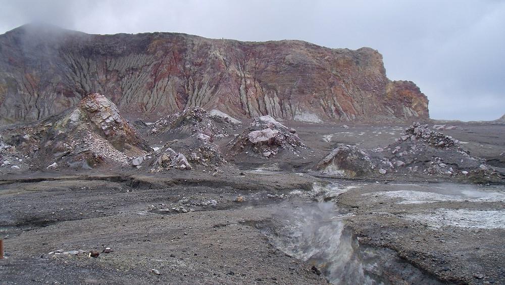 White Island rotes Gestein