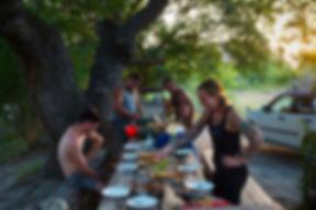 Abendessen im Waschlowani Nationalpark