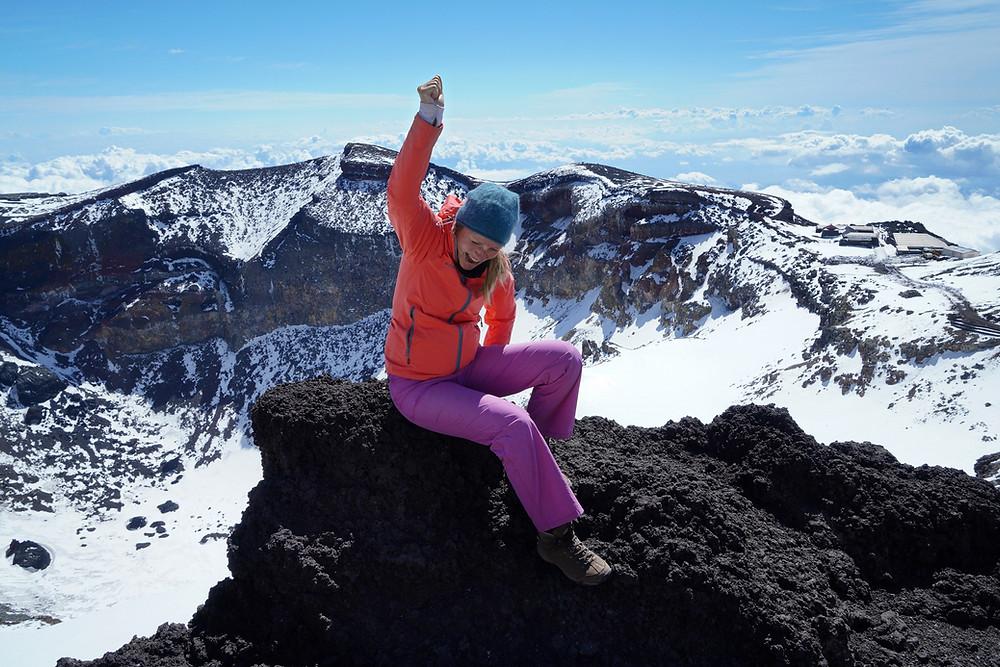Kati auf dem Gipfel des Mount Fuji