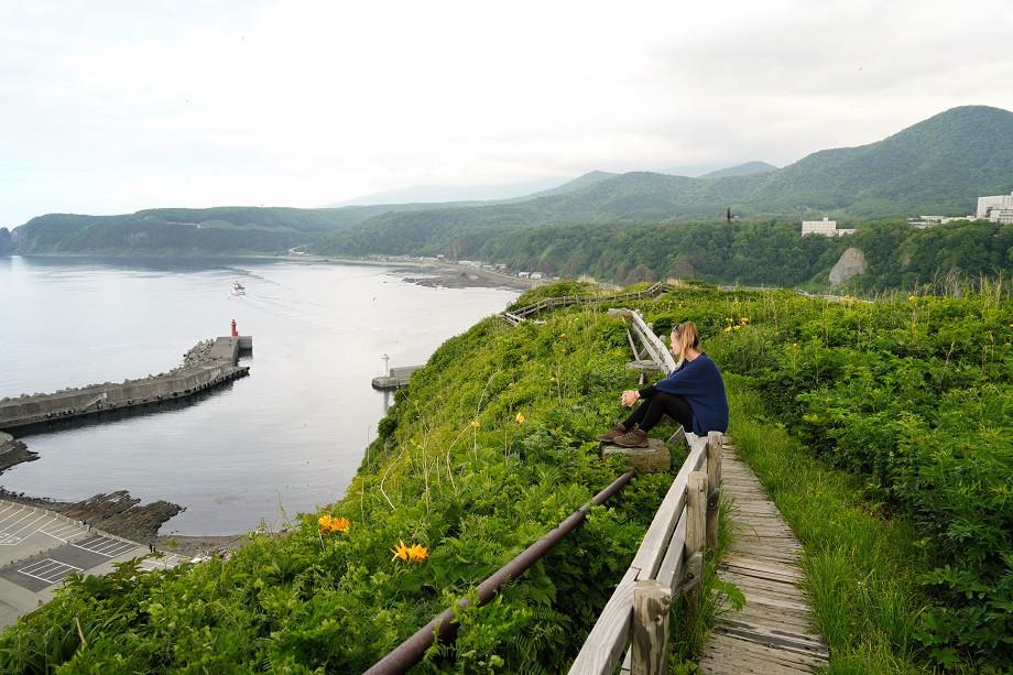 Blick auf den Hafen von Utoro