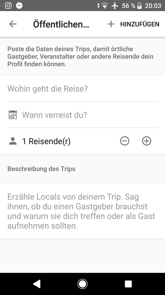 Couchsurfing App Anfrage