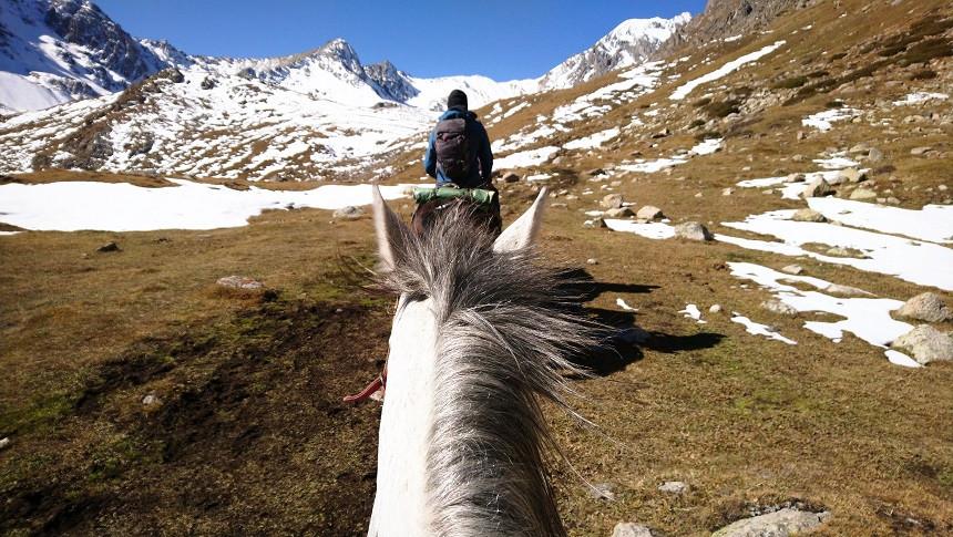 Pferdetrekking zum Ala Kul See