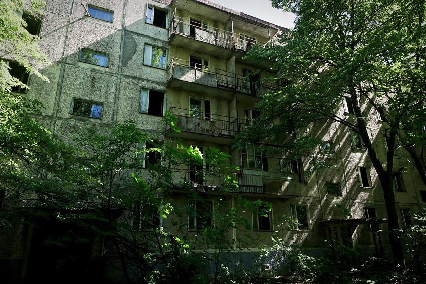 Zugewachsener Innenhof in Prybjat