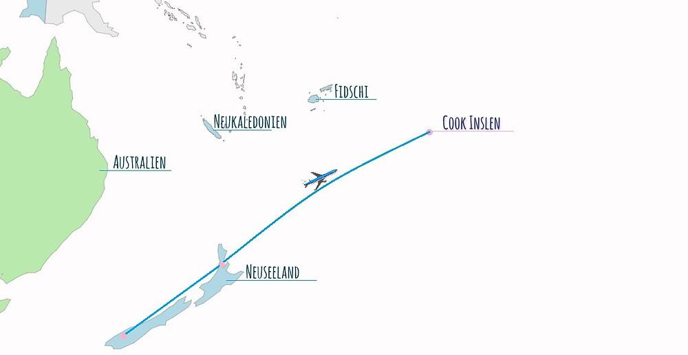 Flugroute Neuseeland Aitutaki