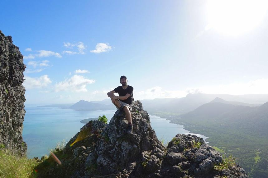Hermann auf dem Le Morne Brabant auf Mauritius