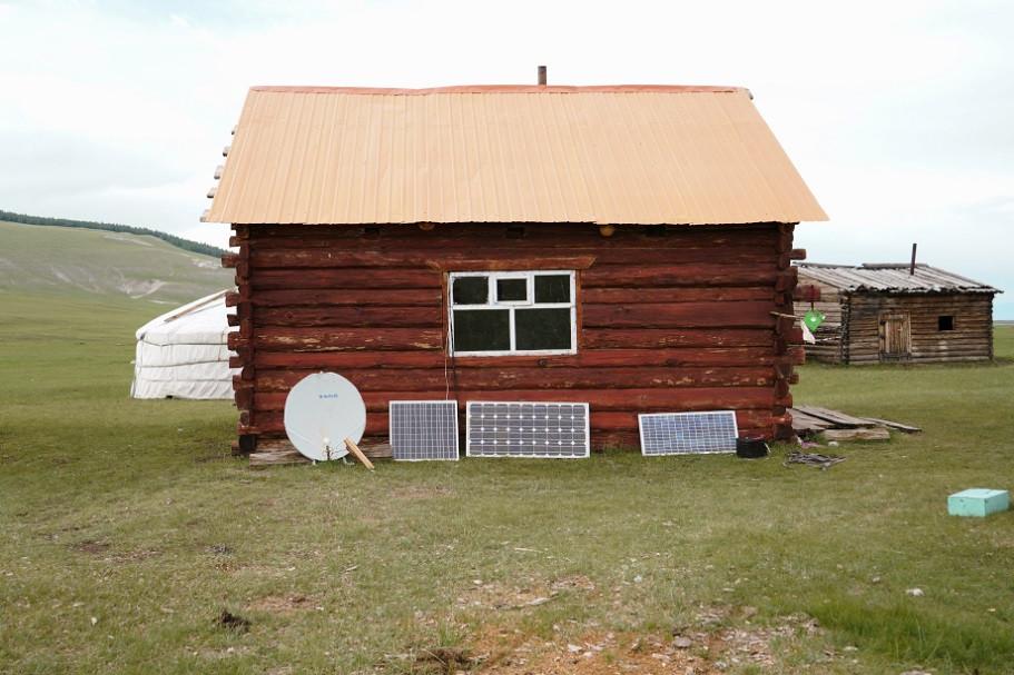 Einfache Hütte in der Mongolei