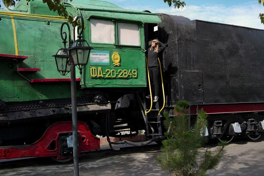 Lokomotive im Eisenbahnmuseum Taschkent