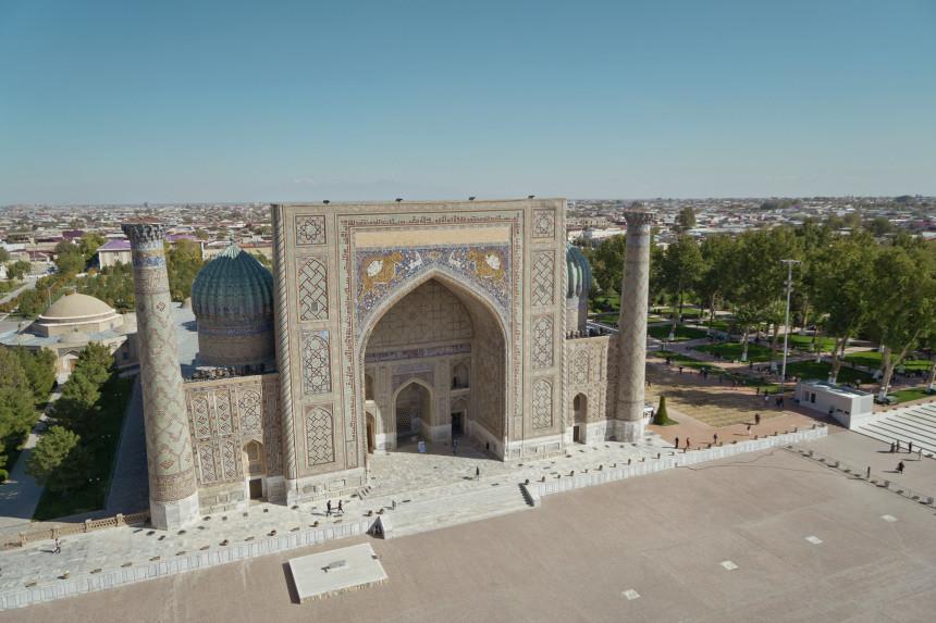 Blick vom Minarett der Ulughbek Medresse