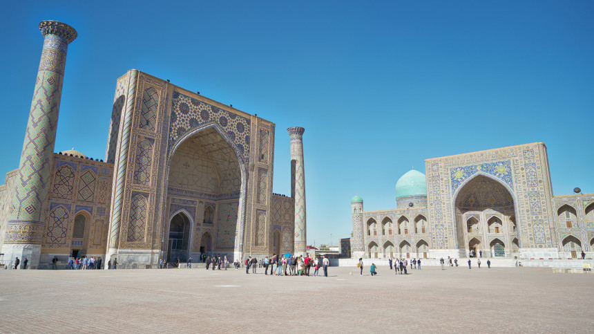 Blick auf den Registan Komplex in Samarkand