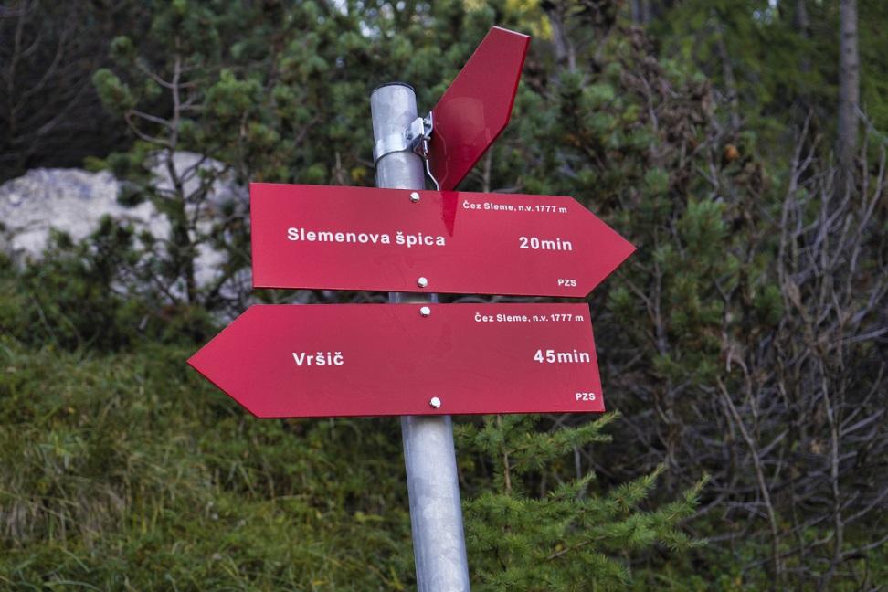 Wegweiser zur Slemenova Špica