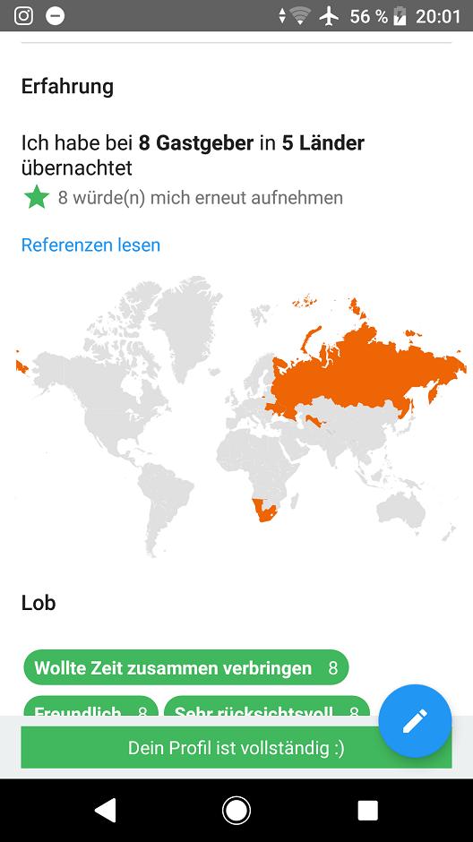 Couchsurfing App Referenzen