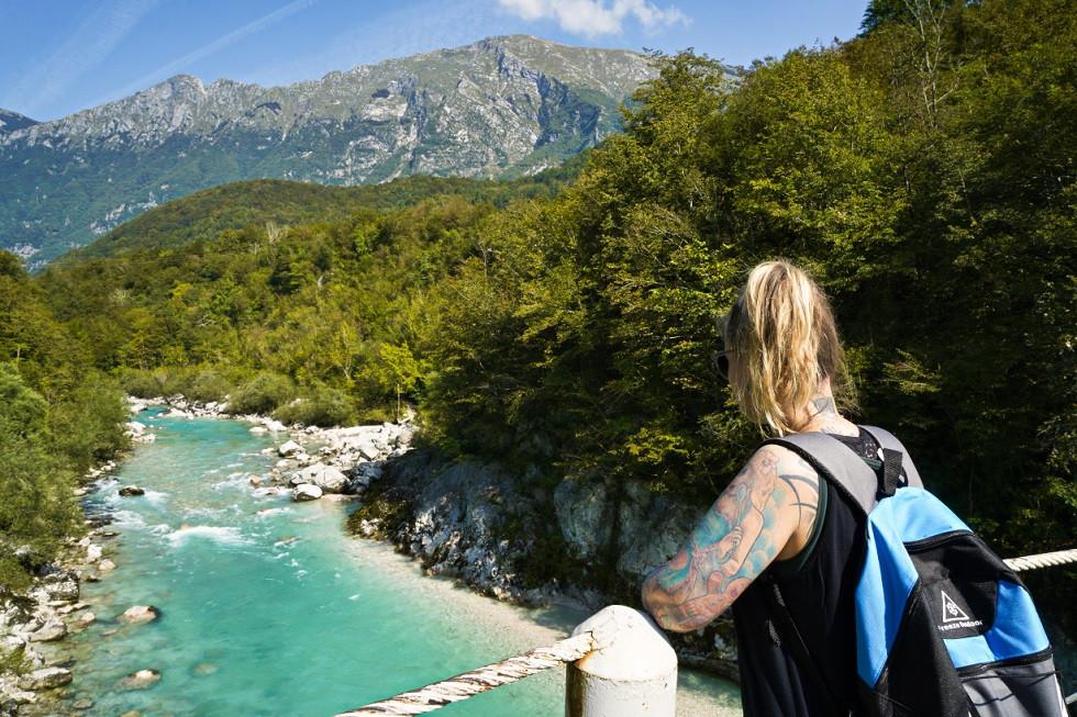 Blick auf die Soča und das Soča Tal