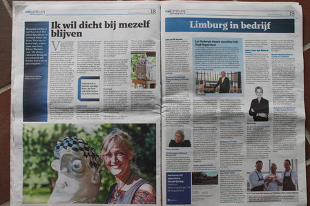 Pagina groot in de krant De Limburger.