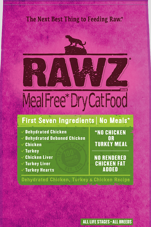 Rawz Dehydrated Chicken, Turkey, & Chicken Recipe Cat Food