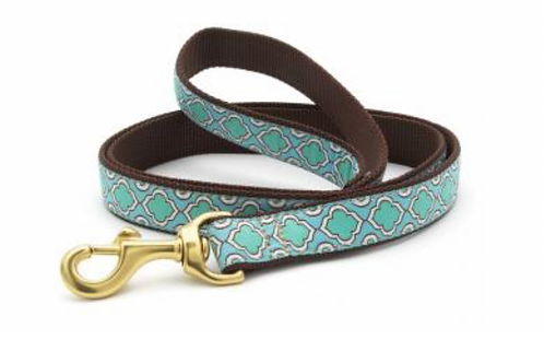 Up Country Blue Green Pattern/Brown 6' Leash
