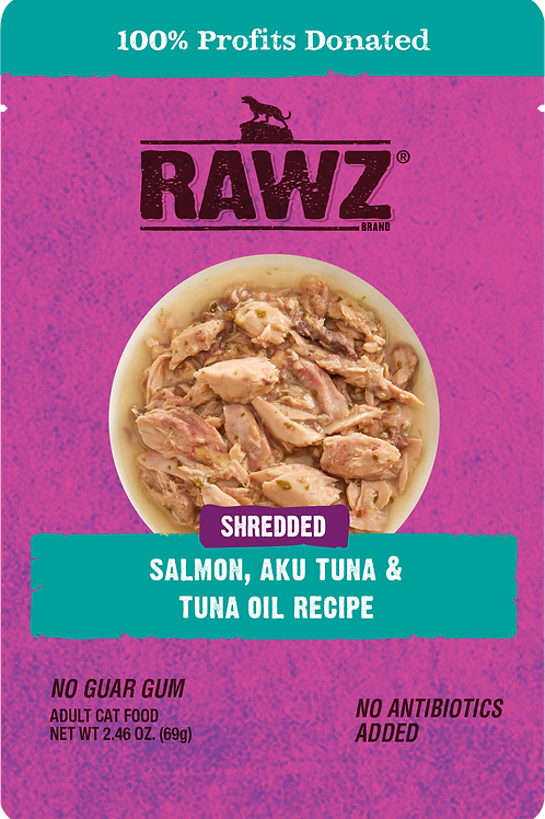 Rawz Shredded Salmon, Aku Tuna, & Tuna Oil Cat Food
