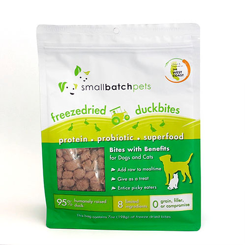 Small Batch Pets Freeze Dried Duck Bites Meal Topper or Treat for Dogs & Cats