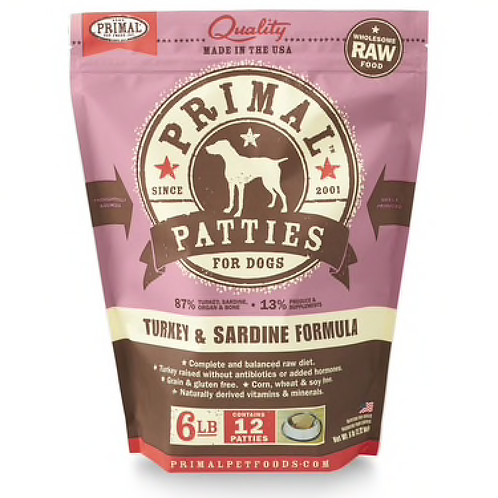 Primal Turkey & Sardine Formula Raw Dog Food Patties