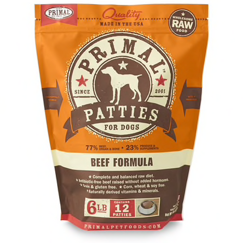 Primal Beef Formula Raw Dog Food Patties