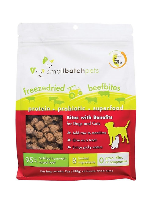 Small Batch Pets Freeze Dried Beef Bites Meal Topper or Treat for Dogs & Cats
