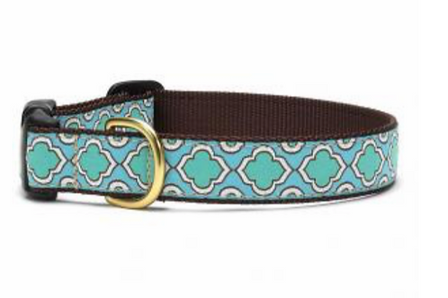 Up Country Blue Green Pattern Dog Collar