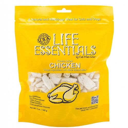 Cat-Man-Doo Life Essentials Freeze Tried Chicken Treats for Cats and Dogs