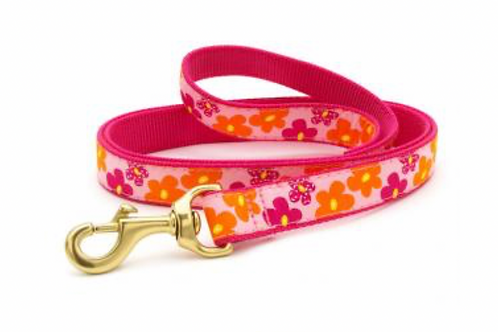 Up Country Pink and Orange Flowers/Pink 6' Leash