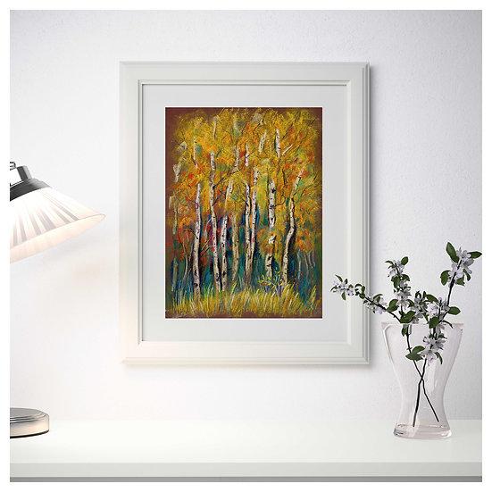 Golden autumn. Birch trees. Digital Art