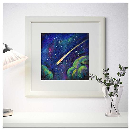 Night starry sky. Landscape. Sapce. Painting by Natalia Rumyantseva