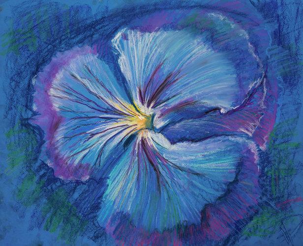 Blue flower. Pansy. Digital Art. Pastel Painting