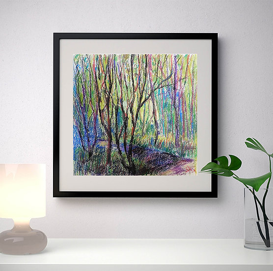 The quiet whisper of the trees.  Nature. Original painting.