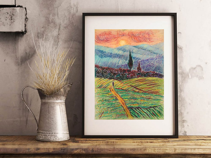 """Painting """"Unforgettable Tuscany"""". Landscape. Italy. Fields"""