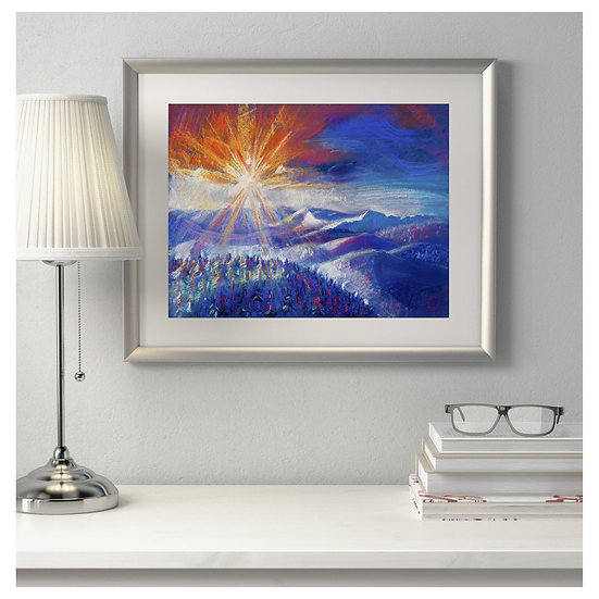 Sun Mountain. Digital Art. Pastel Painting