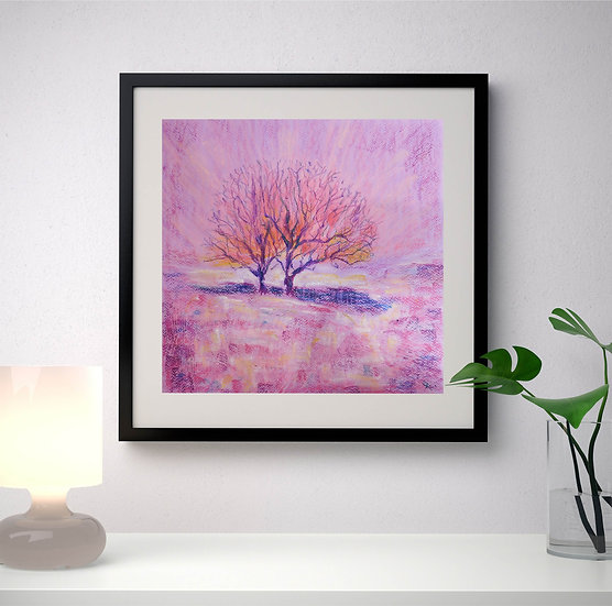 The meeting of two lonely hearts. Trees. Original Painting. Landscape