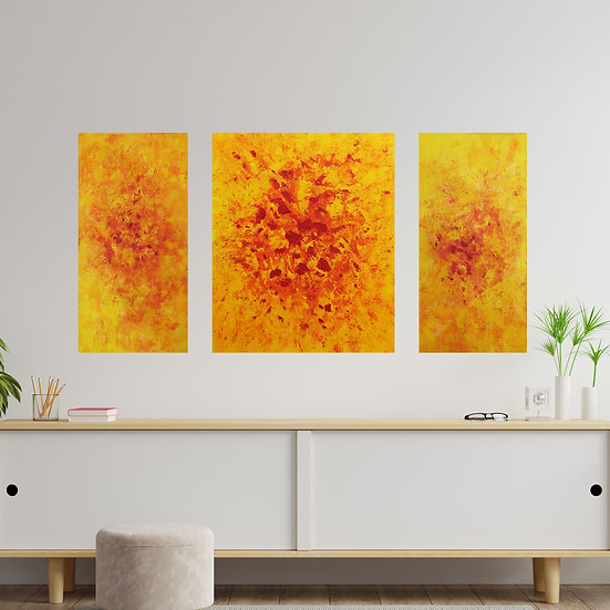 "Abstract painting ""I am Joy""(triptych). Meditative painting  by Rumyantseva"