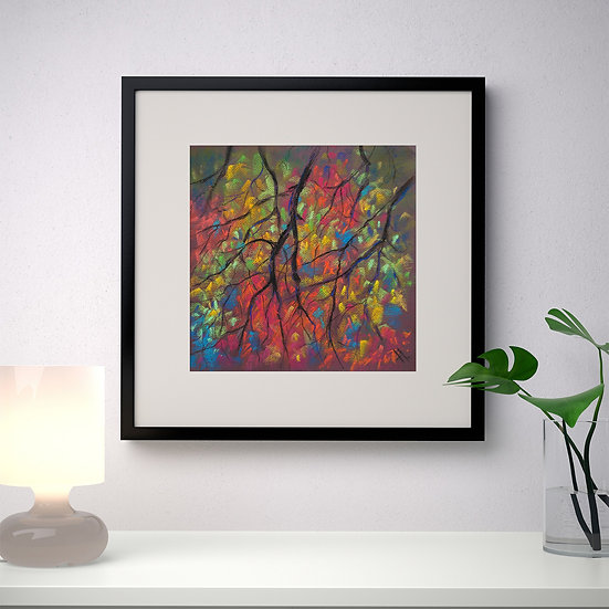 Unity.  Autumn  branches. Tree. Original painting.