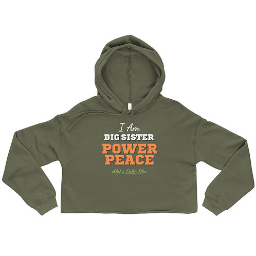 I Am Big Sister Power Peace Crop Hoodie