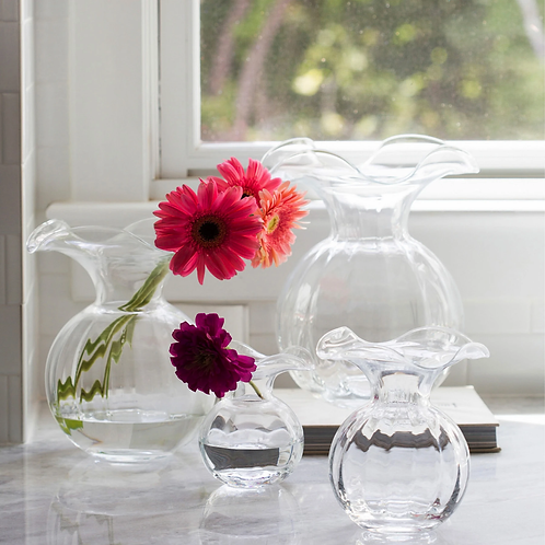 VIETRI Hibiscus Fluted Clear Glass Vase