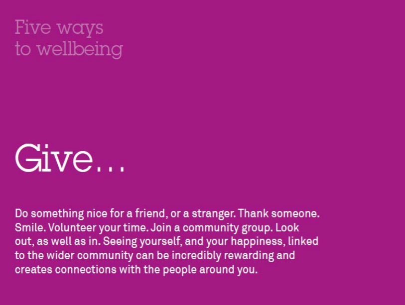 Five ways to wellbeing - Give