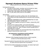 Squeeg's Kusoms Epoxy Primer Filler Kit Information