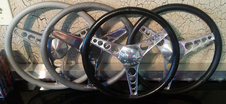 "Squeeg's Hot Rod Connection 14"" Aluminum I beam steering wheels"