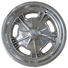 "Squeeg's Kustoms Hot Rod Connection Starburst Spindle Mount 15"" x 4.5"" wheel for '37-'48 Ford Spindles. Polished."