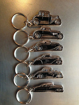 Squeeg's Hot Rod Connection Jimmy Smith Pewter 32 Ford 5 Window Coupe, 33 Ford Roadster, 34 Ford 3 Window Coupe, 36 Ford 3 Window Coupe, 40 Ford Coupe & 50 Mercury Custom pewter key chains