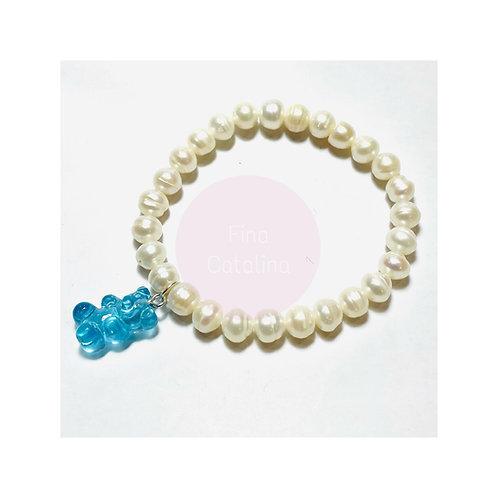 "Pulsera perlas naturales ""oso gomoso"" azul"